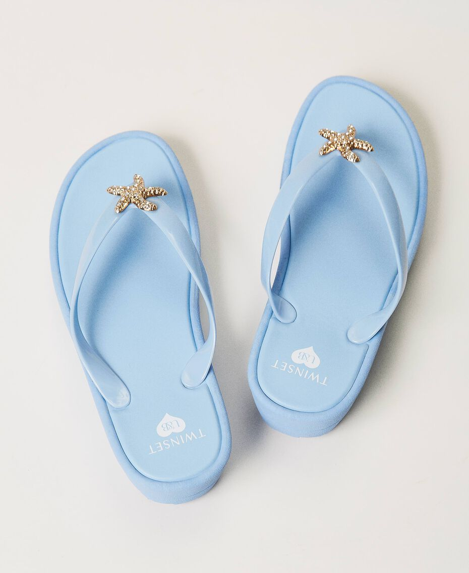 """Infradito con dettaglio gioiello Blu """"Cielo"""" Donna 211LMPZPP-03"""