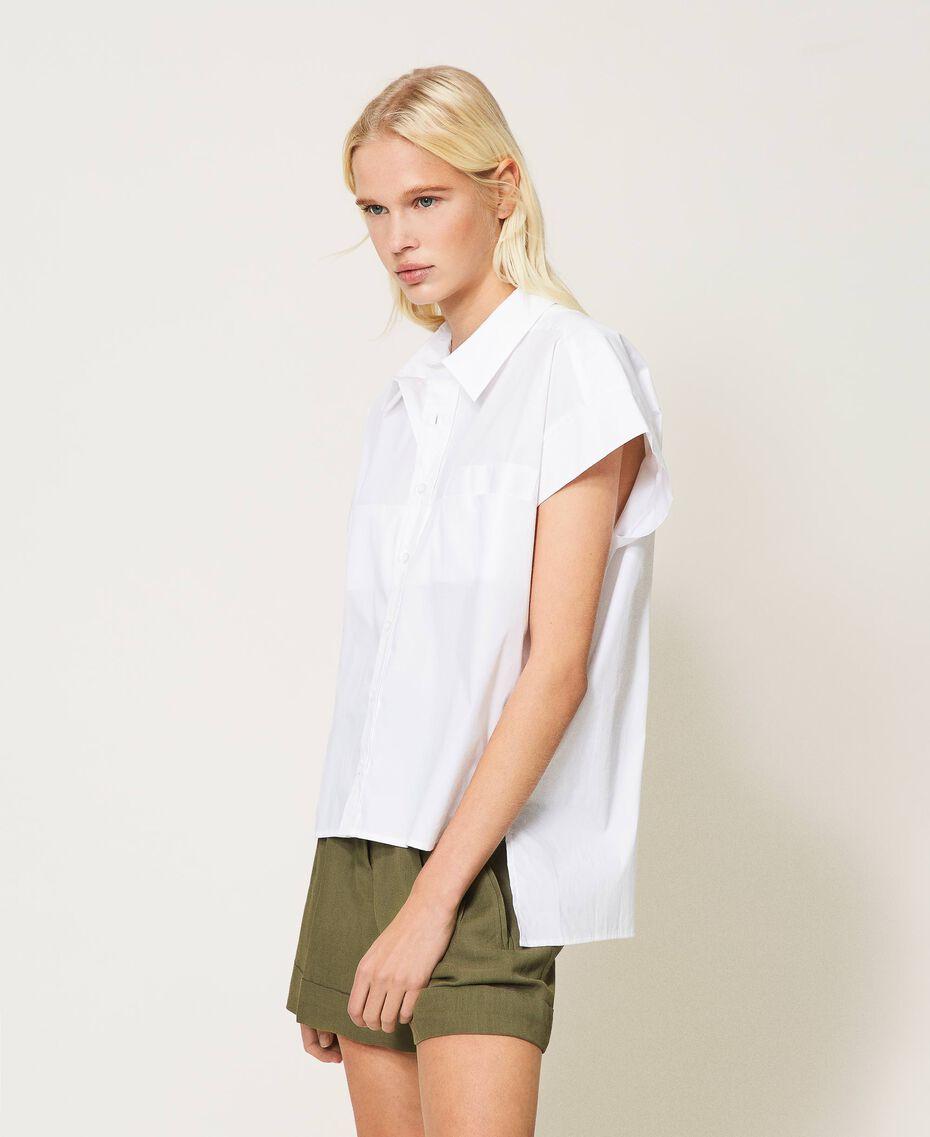 Oversize poplin shirt White Woman 211TT245E-01