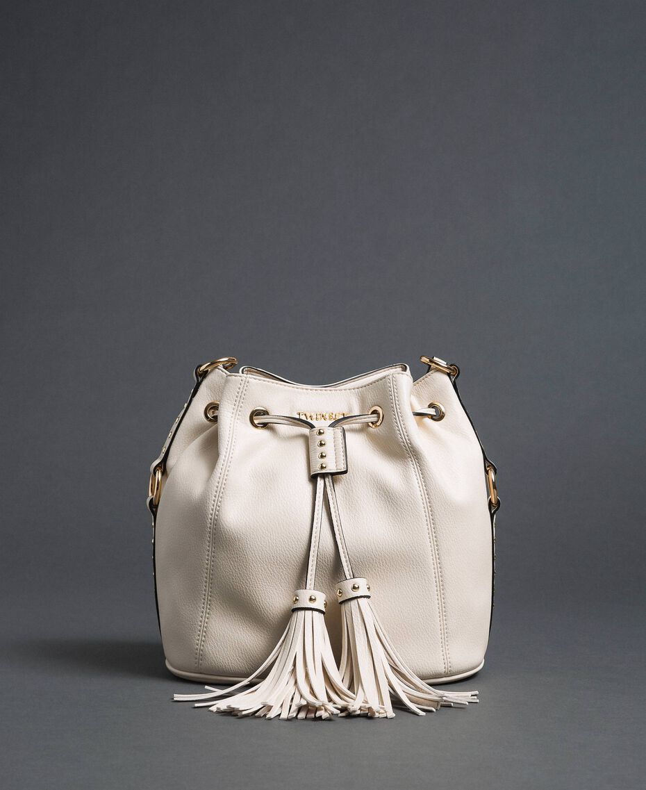Faux leather bucket bag with studs White Snow Woman 192TO8163-02