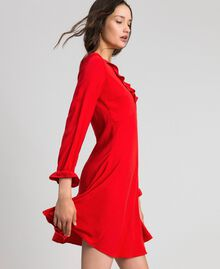 Georgette dress with ruffles Pomegranate Red Woman 192TP2112-02