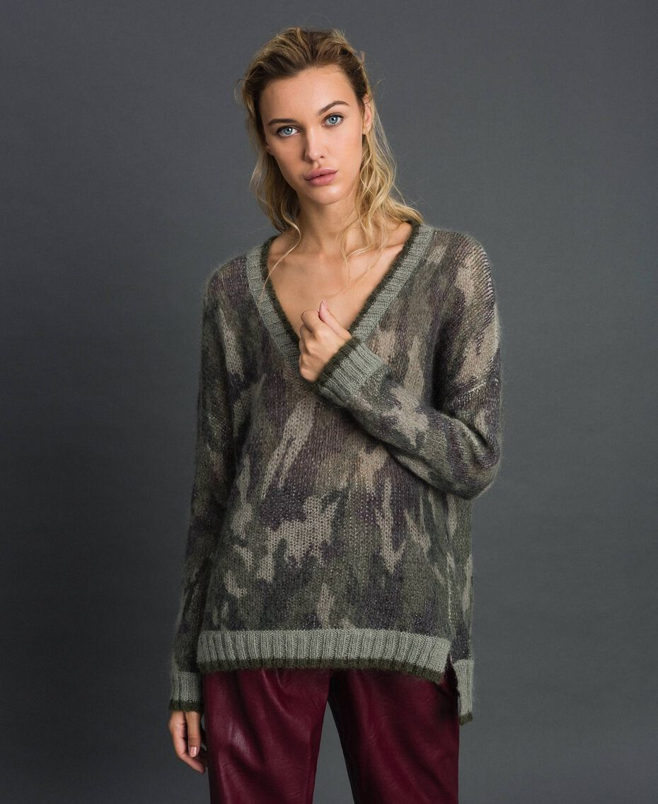 Maxi maglia in mohair stampato Stampa Camouflage Donna 192TT3330-02