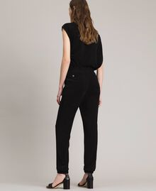 Pantaloni jogging in lurex Nero Donna 191MP2026-04