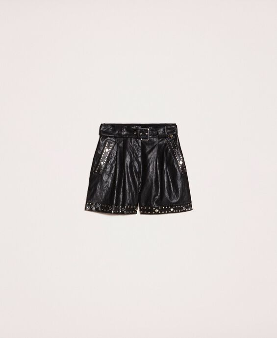 Faux leather shorts with studs