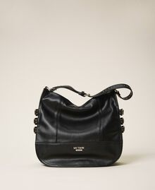 Faux leather hobo bag with straps Black Woman 202MA7041-01