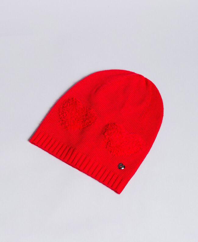 Mütze mit Herzen aus Chenillestickerei Rot Mohn Frau VA8P2V-01
