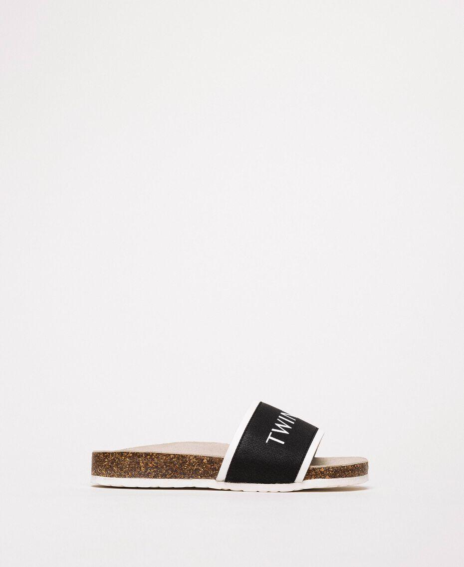 Sandalias slide de tela con logotipo Blanco Niño 201GCJ020-02