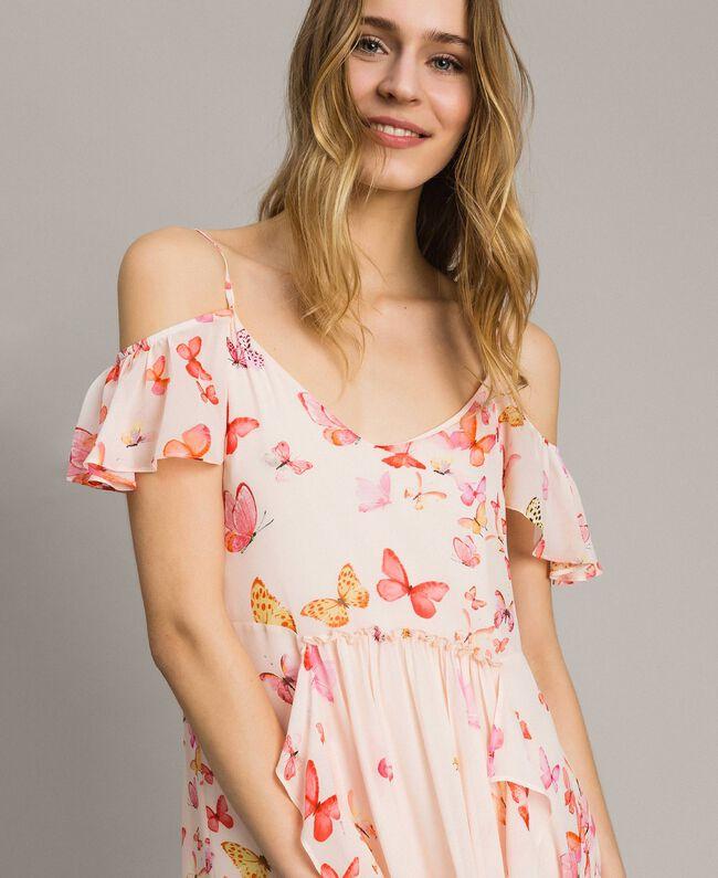 Robe longue en georgette à imprimé papillon Imprimé Papillon Rose Mixte Femme 191TT2391-04