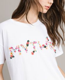 T-shirt with embroidered logo White Cream Woman 191MP2061-05