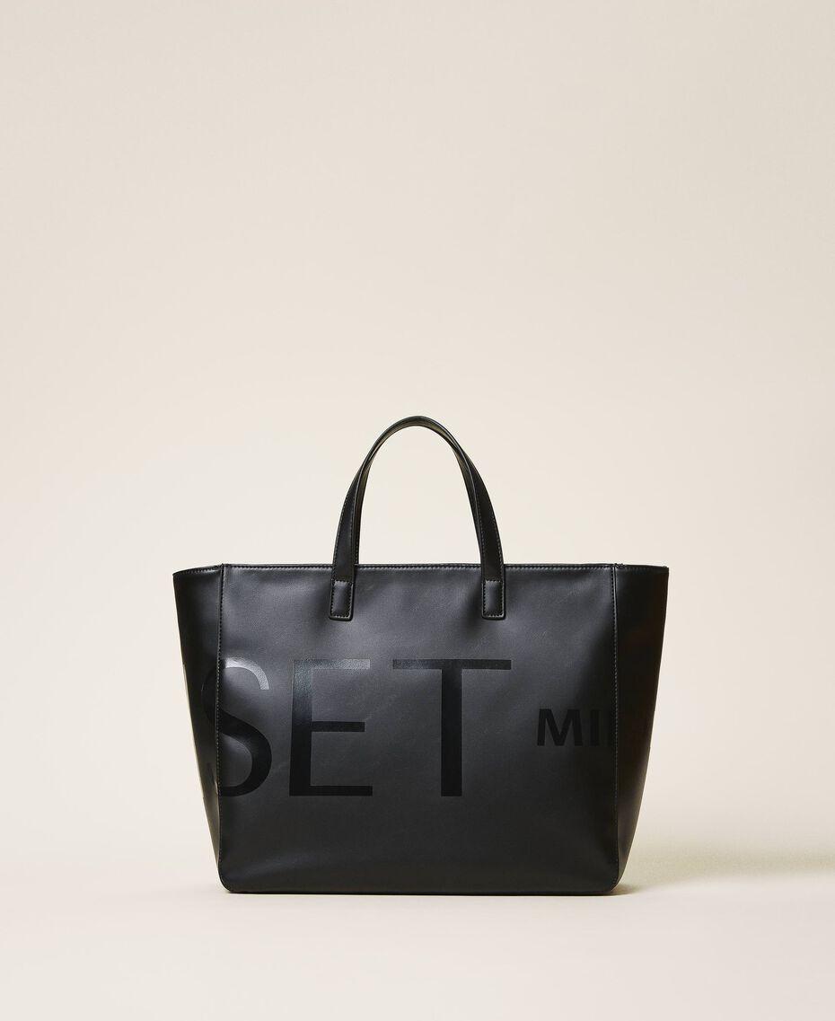 Shopper with maxi logo Black Woman 202TB7220-01