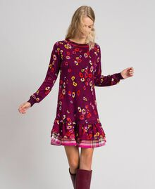 "Floral print dress with flounce ""Petit Fleur"" Burgundy Red Print Woman 192MT3271-01"