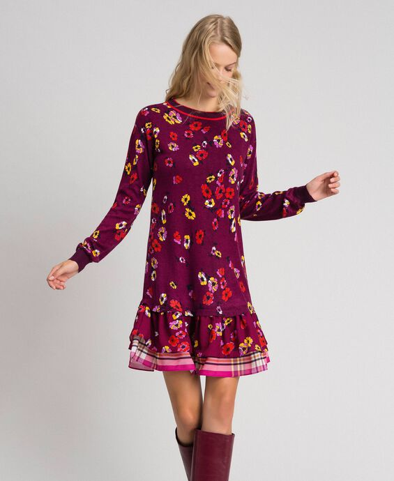 Floral print dress with flounce