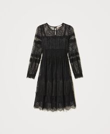 Tulle dress with lace and fringes Black Woman 202TP2374-0S