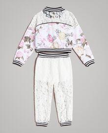 Fleece-Kleid mit Blumenmuster und Spitzen-Jogginghose Motiv Ramage Schmetterling Kind 191GB2131-0S