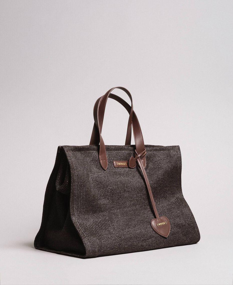 Übergroße Einkaufstasche mit Stroh-Effekt Schwarzbraun Frau 191LM4ZCC-01