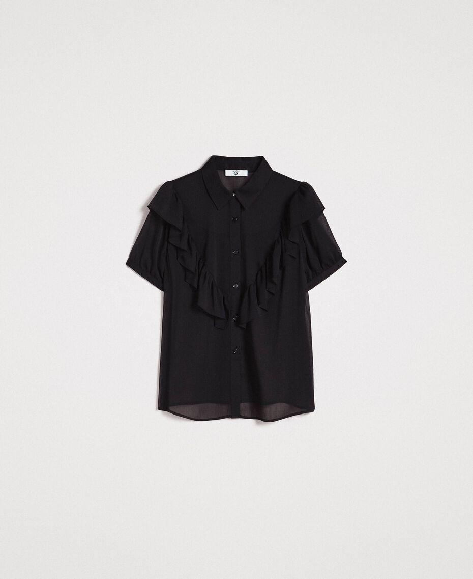 Camicia in creponne con ruches Nero Donna 191LB21GG-0S