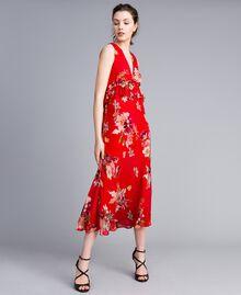Robe longue en crêpe georgette floral Imprimé Jardin Rouge Femme PA8272-02