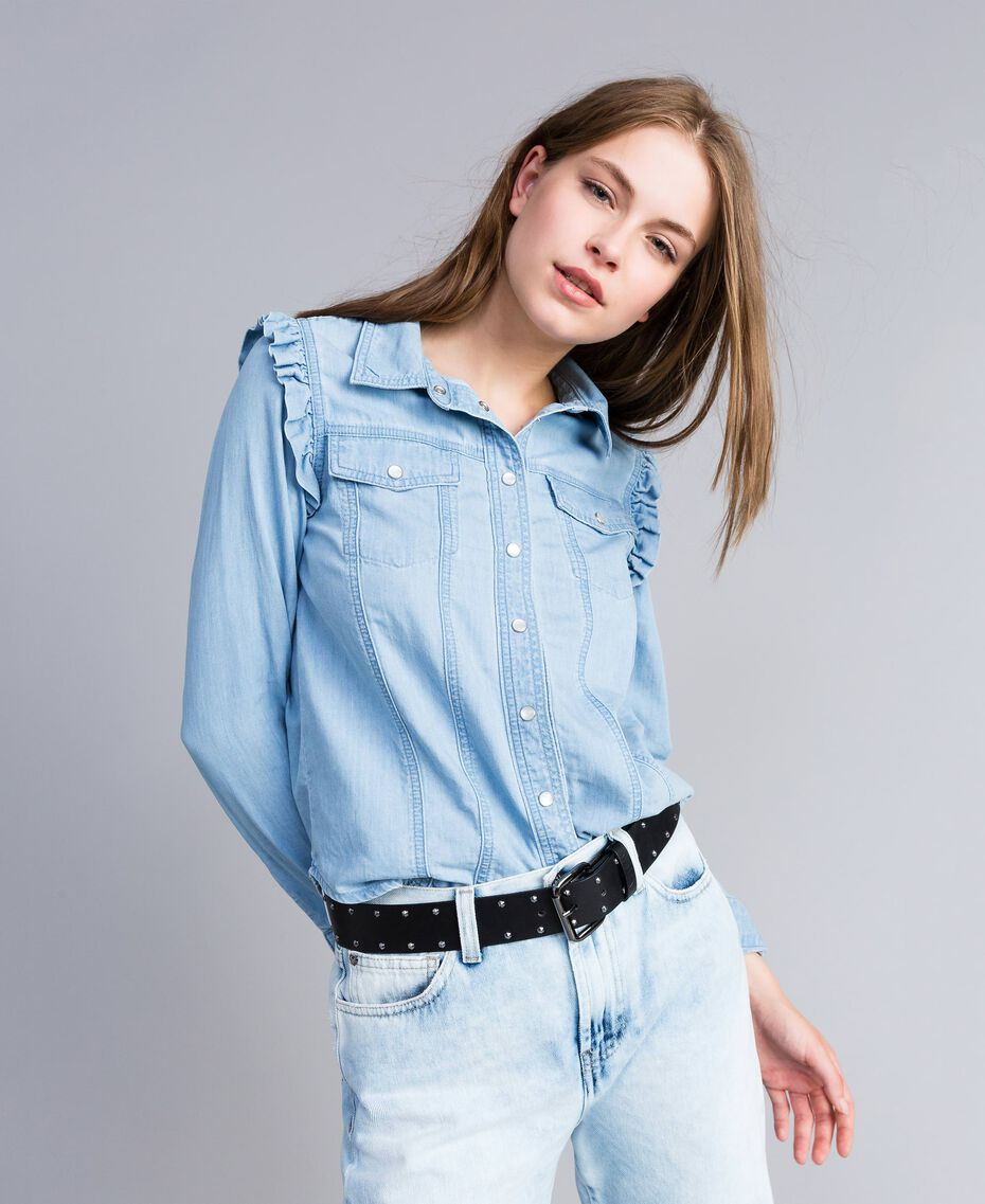 Camisa vaquera con volantes Denim Azul Mujer JA82U4-02
