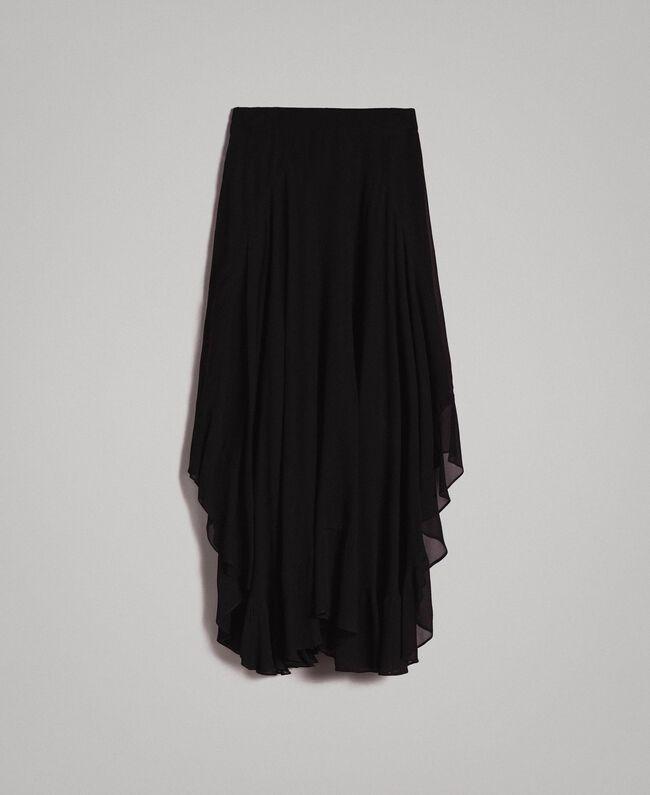 Jupe mi-longue de georgette Noir Femme 191TP2125-0S