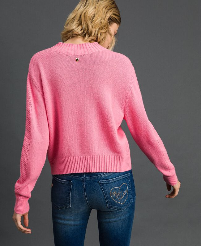 """Maglia boxy in misto lana Rosa """"Confetti"""" Donna 192MP3140-04"""