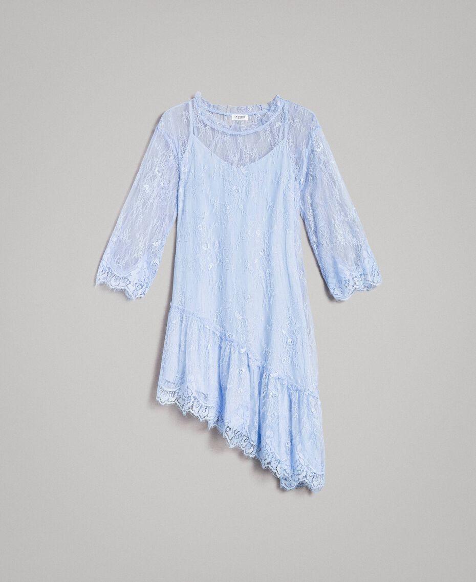 Robe asymétrique en dentelle de Chantilly Bleu Clair Atmosphere Femme 191ST2120-0S
