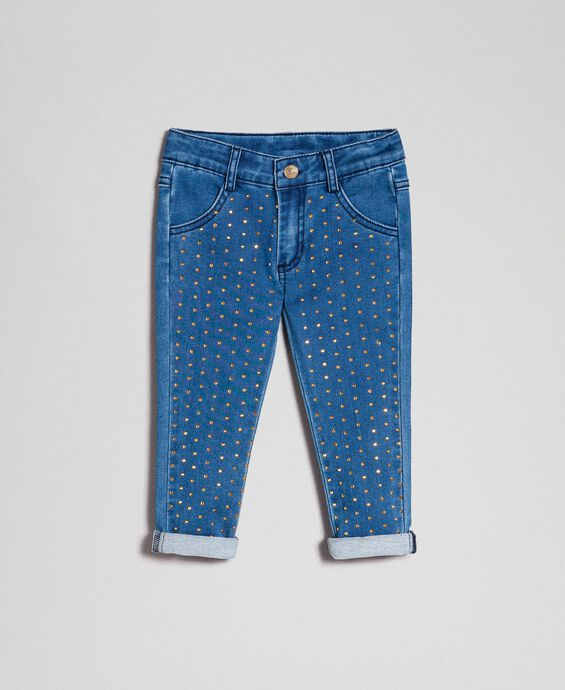 Jeans effect skinny trousers with studs