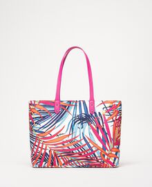 "Printed canvas shopper ""Ice"" White Ferns Print Woman 201MO8130-01"