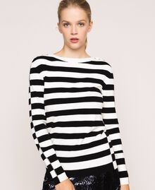 """Jumper with rhinestone buttons on the shoulders Black / """"Snow"""" White Stripes Woman 201TP3103-01"""