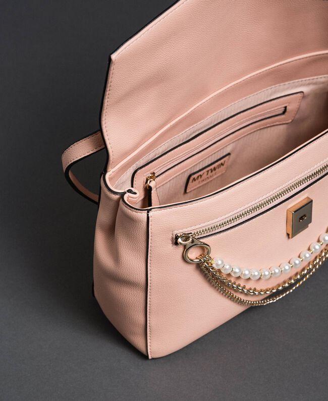 Sac à bandoulière en similicuir avec perles et chaînes Rose Pâle Femme 192MA7050-04