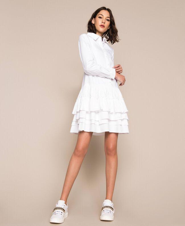 Поплиновое платье-рубашка с оборками Белый женщина 201ST2020-01