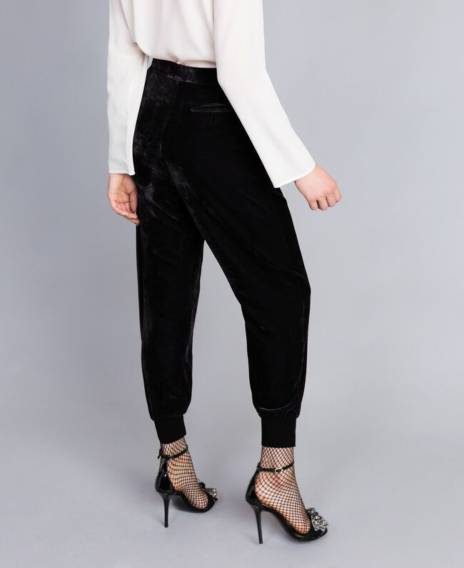 Velvet jogging trousers Black Woman PA823G-03