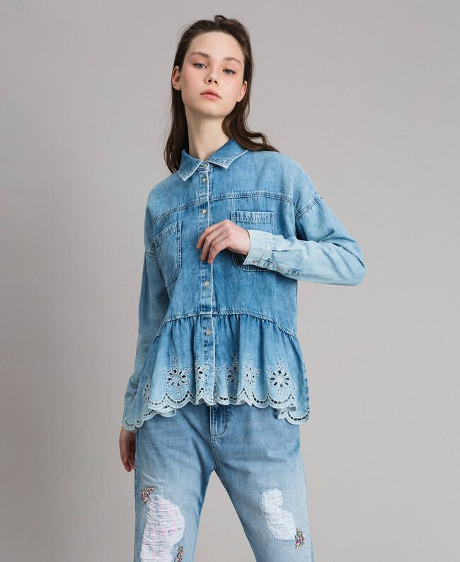 Denim shirt with broderie anglaise and flounce Denim Blue Woman 191MP2018-01