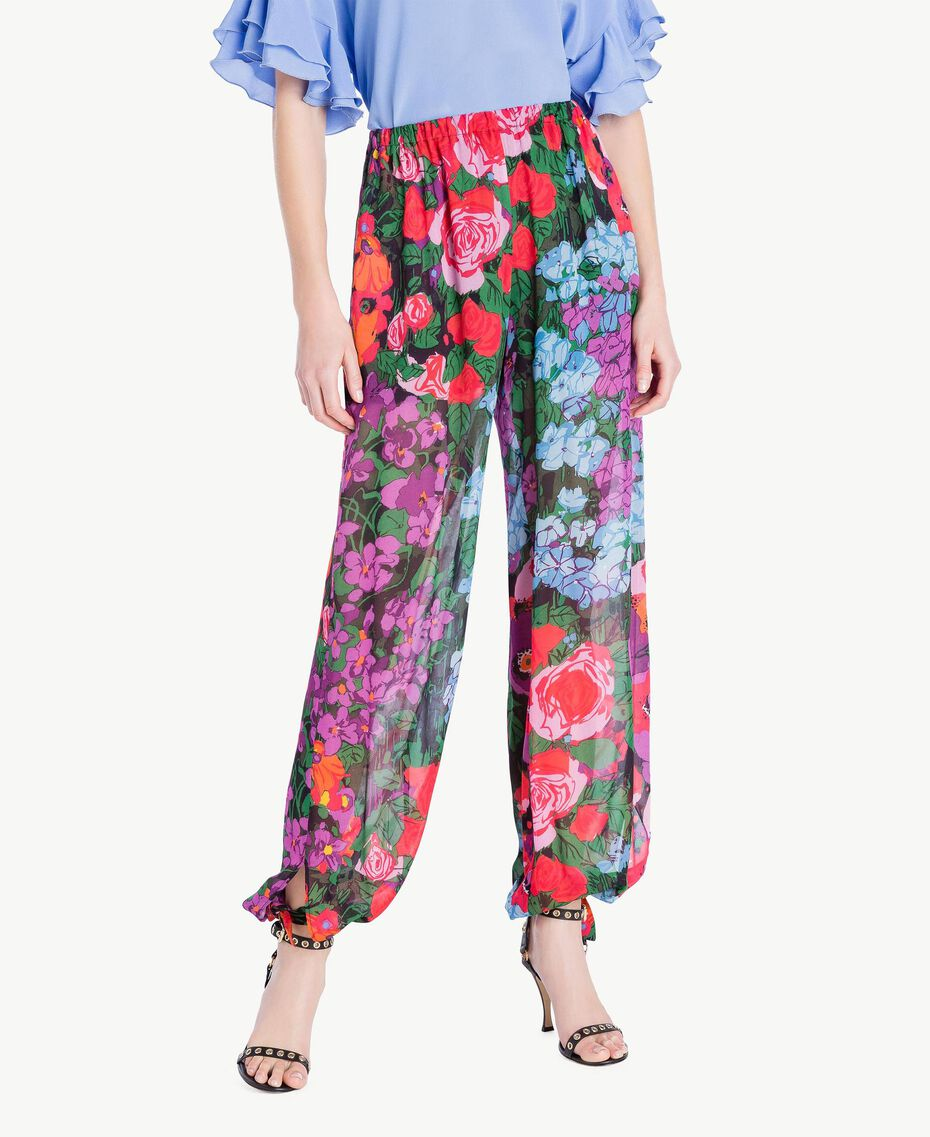 Printed jogging trousers Sixties Style Flower Print Woman TS824H-01