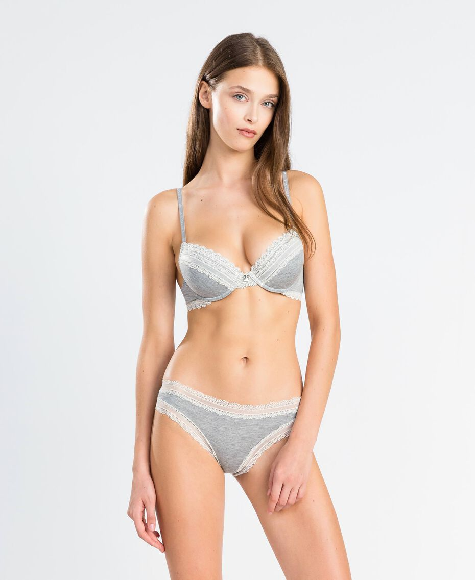 Push-up in viscosa stretch mélange Grigio Mélange Medio Donna LA8B44-02