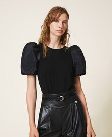 Wool blend jumper with taffeta sleeves Dark Royal Blue Woman 202TP3250-01