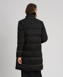 Quilted long puffer jacket with chains Black Woman 192TP2141-03