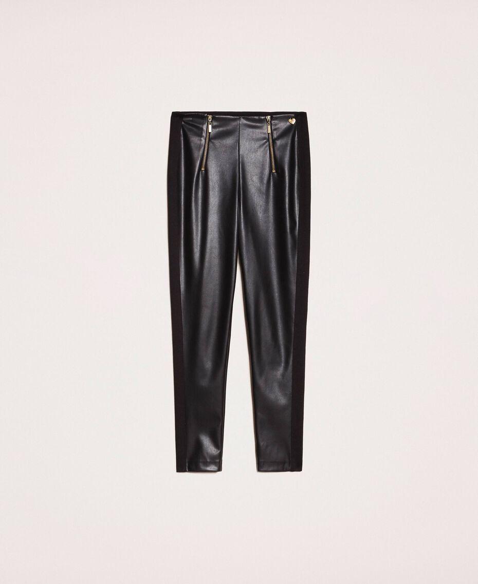 Leggings aus Lederimitat mit Reißverschluss Schwarz Frau 201TP2200-0S