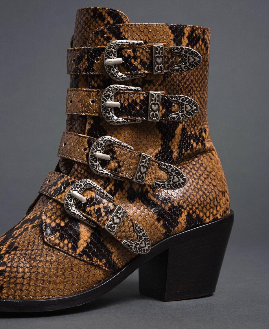 Bottines santiags en cuir imprimé animalier Imprimé Python Brandy Femme 192TCT06E-03
