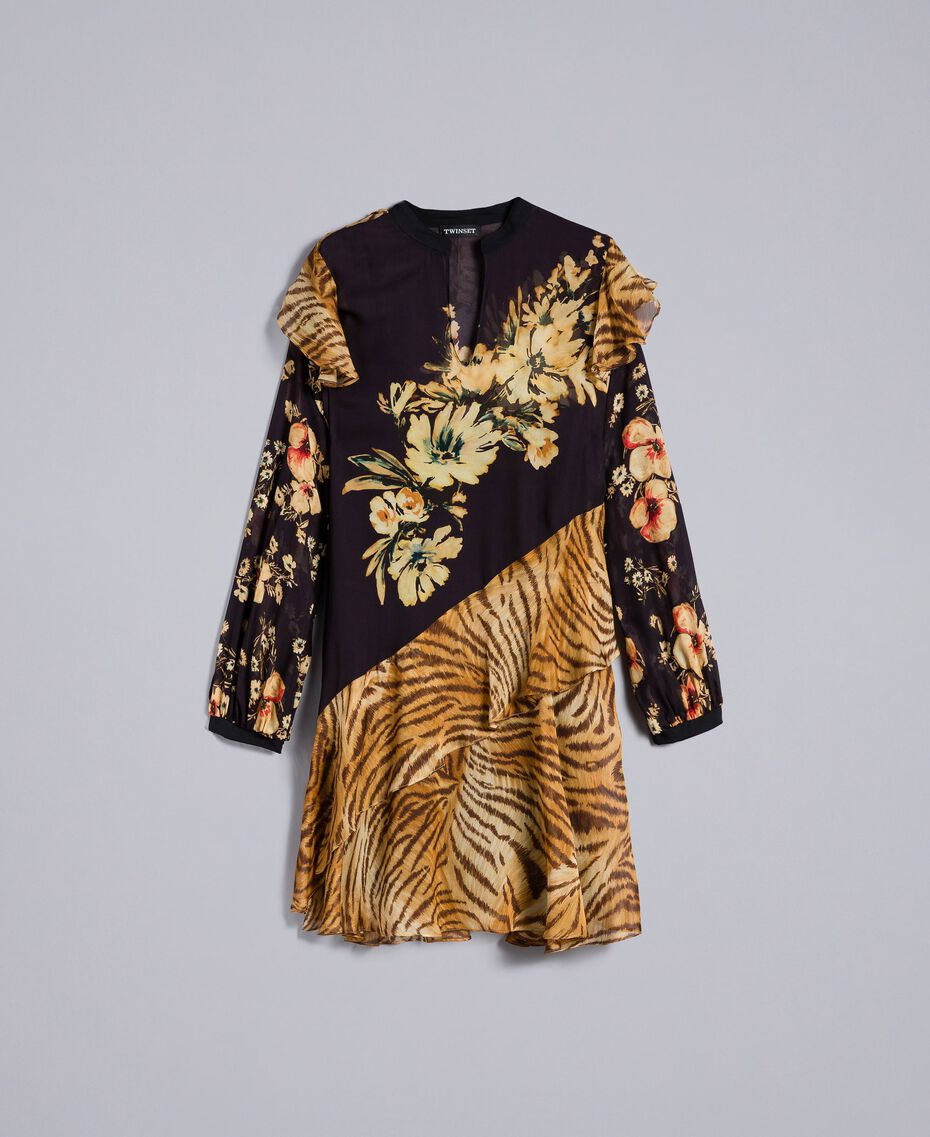 Short dress with mix of prints Flowers&Tiger Mix Print Woman TA825C-0S