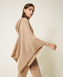 """Wool and cashmere poncho """"Pastel Skin"""" Beige Woman 202TT3013-05"""