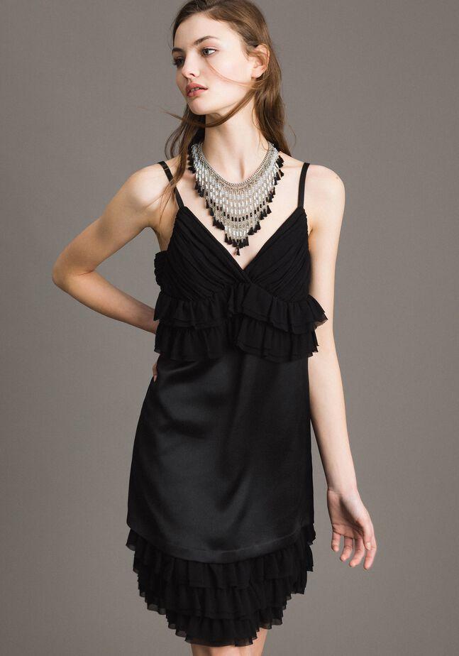 Satin dress with georgette flounces