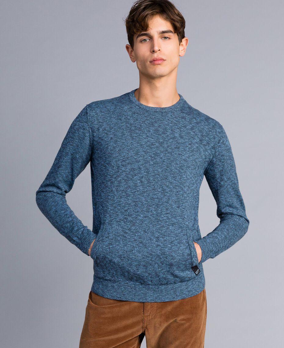 Jersey de algodón y lana Bicolor Gris Antracita / Azul Denim Hombre UA83BB-05