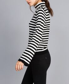 Striped cashmere blend mock neck jumper Black / Mother-of-pearl White Stripe Woman SA83FN-02