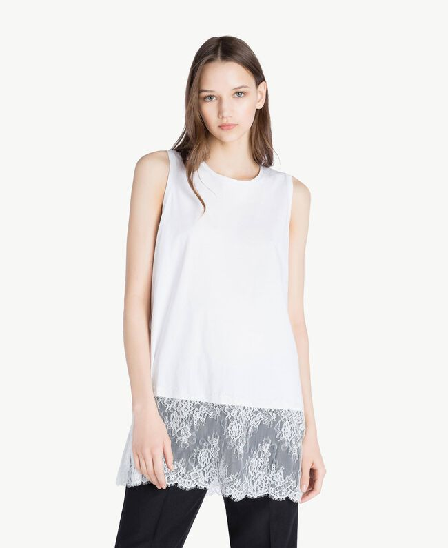 Top pizzo Bianco Donna SS82RB-01