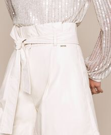 """Faux leather shorts with belt """"Silk"""" White Woman 201ST2115-04"""