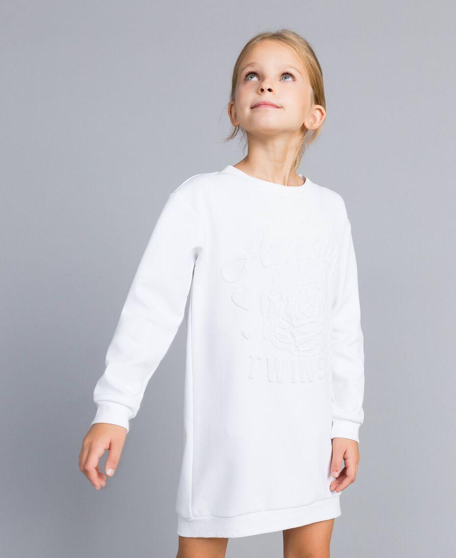Minikleid aus Baumwollmischung mit Grafik Mattweiß Kind GA82LK-0S