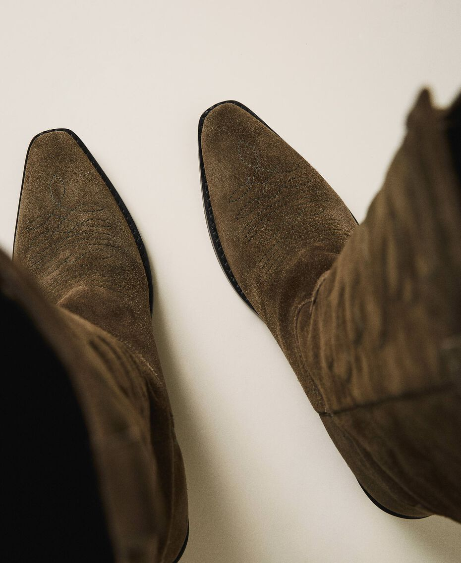 Suede Texas boots Dark Olive Green Woman 202TCP160-03