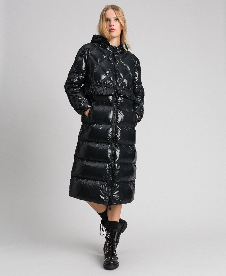 Long quilted padded jacket with real down Black Woman 192TP2501-02