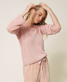 "Cable knit chenille jumper ""Peach Powder"" Pink Woman 202LL3GSS-02"