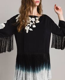 Floral embroidery and fringe blouse Black Woman 191TT2130-04