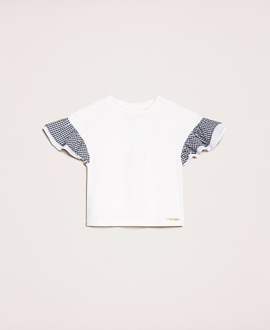 """T-shirt with gingham sleeves Two-tone """"Papers"""" White / Vichy Mix Child 201GB2093-01"""
